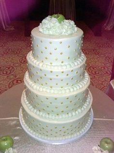 Meemo's Bakery - San Antonio Cakes - Four-tiered wedding cake with gold polka dot details