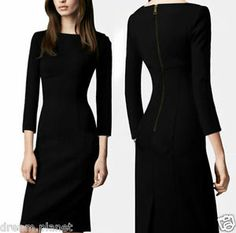 Autumn Long Sleeve Slim Elegant Solid Business Dress