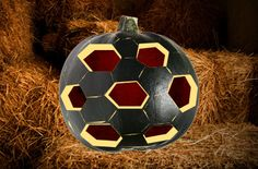 soccer ball pumpkin! @Ashley Parker