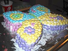 Homemade M Butterfly Birthday Cake: I saw the instructions for this homemade M butterfly birthday cake on a bag of M I received for Easter! It was easy, fast & a big hit with all of