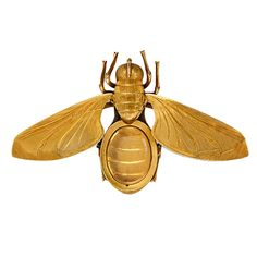An antique gold brooch in the form of an insect with movable wings which separate to reveal a carved crystal locket, in 18k. England, signed FT or ET.   	CREATION DATE: 1870