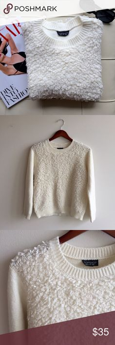 """[topshop] boucle sweater in cream Ok, I literally felt like Mary's little lamb wearing this   or a cute little poodle . so adorable and fuzzy that people will just come up to hug you for no reason  Relaxed, boxy fit. 65% acrylic, 23% nylon, 12% wool. 21"""" shoulder to hem, 21"""" pit to pit. So comfy and soft. It will the first thing you will want to grab when you wake up late. Great condition Topshop Sweaters Crew & Scoop Necks"""