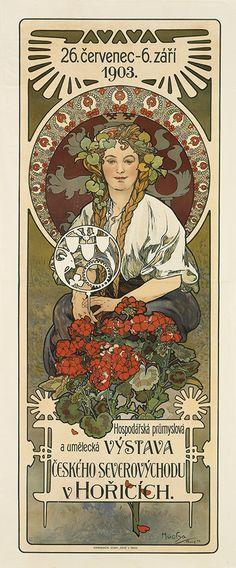 ALPHONSE MUCHA (1860-1939). HOSPODARSKA PRUMYSLOVA A UM ELECKA VYSTAVA CESKEHO SEVEROVYCHODU V HORICICH. 1903. 62x26 inches, 159x66 cm.