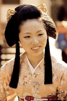 Maiko Satoryu (Kamishichiken) wearing hime hair