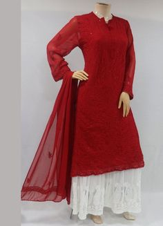 ISHIEQAs Chikankari-Embellished Georgette Red Kurti-MV1001E Cotton Anarkali, Anarkali Kurti, Red Kurti, A Line Kurti, Sherwani, Kurtis, Grey And White, Pure Products, Silk