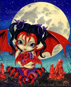 Ruby Dragonling in Ruby Moon lowbrow art gothic by strangeling