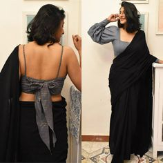 Shoutout For All The Minimalistic Saree Lovers! Stylish Blouse Design, Fancy Blouse Designs, Saree Blouse Designs, Saree Jacket Designs Latest, Choli Blouse Design, Saree Wearing Styles, Saree Styles, Outfit Invierno, Saree Trends