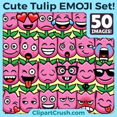Tulip Emoji Clipart Faces / Cute Spring Tulip Flower Emojis Emotions Expressions