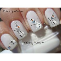 Frozen Olaf Nail Decals (3.91 CAD) ❤ liked on Polyvore featuring beauty products, nail care, nail treatments, nails, makeup, beauty, frozen, nail polish and disney