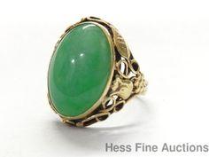 Vintage-14k-Gold-Fine-Quality-Jadeite-Jade-Grape-Flower-Vine-Filigree-Ring-Sz-6