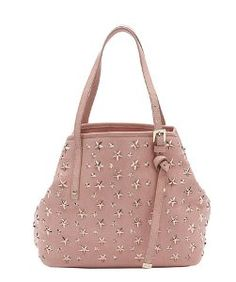 Jimmy Choorose pink leather star studded small 'Sasha' tote