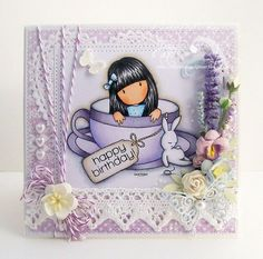 Gorjuss cup a tea! Prima Paper Dolls, Hand Stamped Cards, Magnolia Stamps, Fancy Fold Cards, Fathers Day Cards, Copics, Card Tags, Kids Cards, Shabby