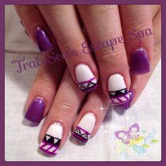 Purple & White Aztec by TraiSeasEscape - Nail Art Gallery nailartgallery.nailsmag.com by Nails Magazine www.nailsmag.com #nailart