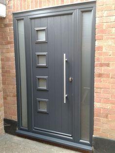 Gallery - The Urban Door Company Grey Front Doors, Front Door Porch, House Front Door, Front Door Design, Fence Design, Fake Fire, Composite Front Door, Orange Brick, Shaker Doors