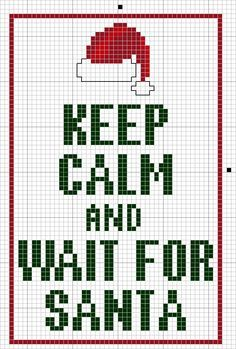 Keep Calm and Wait for Santa free cross stitch pattern