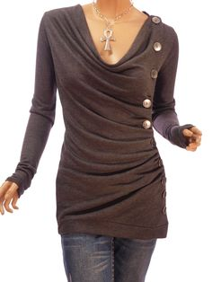 Patty Women Cowl Neck Button Embellished Ruched Blouse Top - Wonder if this is DIYable with an over-sized long sleeve mens shirt?