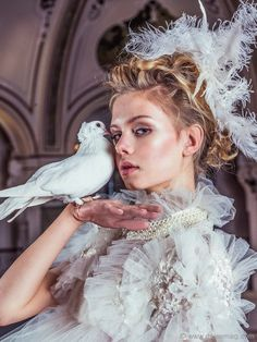 Dress by Anna Kania Couture; jacket by Honeymoon; pearl necklace by Galerie Pearls Collection by Karin van Noort; feather headpiece by Honeymoon #fashion #style #couture #beautiful #model #dress #hautecouture #fashionmagazine #photoshoot #victorian #hair #makeup #highfashion #highend #luxury #luxuryfashion #luxurylifestyle