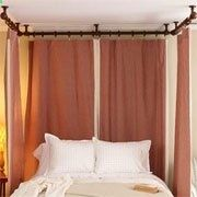 How to make and hang curtains around the bed for a four poster look without the footboard and posts