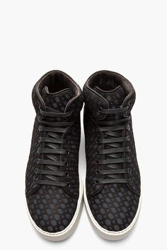 LANVIN //  BLACK & CHARCOAL LASER CUT MID-TOP SNEAKERS.