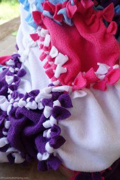 Patchwork No Sew Fleece Blanket Tutorial