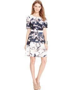 Robert Rodriguez Floral-Print Flared Dress