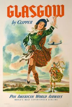 Glasgow by Clipper Vintage Travel Poster advertising, high resolution, travel, vintage #VintageTravelPosters