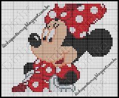 Dinha Ponto Cruz: Gráficos Minnie Mouse em ponto cruz