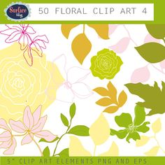 Floral Clip art FLOWERS and leaves. Flower images by SurfaceHug, $4.99