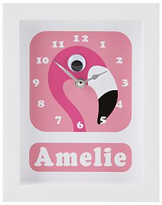 Stripey Cats Personalised Flamingo Pink Framed Clock, 23 x 18cm