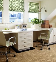 Bold-pattern roman shades add personality to this minimalist desk. More gorgeous home offices: http://www.bhg.com/decorating/small-spaces/strategies/small-space-home-offices/?socsrc=bhgpin070612=6