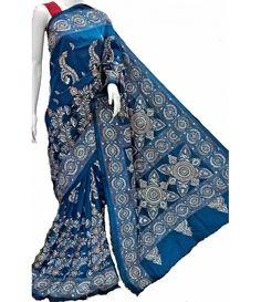Blue Kantha Work Silk Stitch Saree