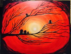 Sunset owls Owls, My Arts, Sunset, Painting, The Creation, Sunsets, Painting Art, Paintings, Painted Canvas