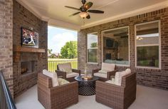 Covered Outdoor Living Area With Patio Furniture; The Colton Floor Plan,  Drees Homes,