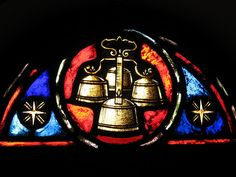 Altar/Sactus Bells Stained Glass Window at a Catholic Church in Dallas, Texas