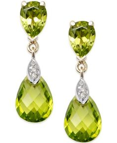 Great looks are possible with peridot earrings peridot earrings peridot ct.) and diamond accent drop earrings in gold MHXQJLY Peridot Jewelry, Peridot Earrings, 14k Gold Jewelry, Gold Drop Earrings, Gemstone Jewelry, 14k Earrings, Saphir Rose, Jewelry Accessories, Jewelry Design