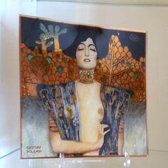 """Glasteller-Glasplatte-Gustav Klimt-""""Judith""""24x24cm.v.Goebel Handmade"""
