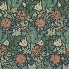 Compton by William Morris. The Original Morris & Co - Arts and crafts, fabrics and wallpaper designs by William Morris & Company William Morris Wallpaper, William Morris Art, Morris Wallpapers, William Morris Patterns, Floral Wallpapers, Motifs Art Nouveau, Art Nouveau Pattern, Stoff Design, Art Gallery