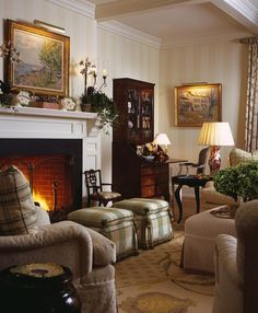 Cozy sitting area in an elegant living room. Very English...I like it