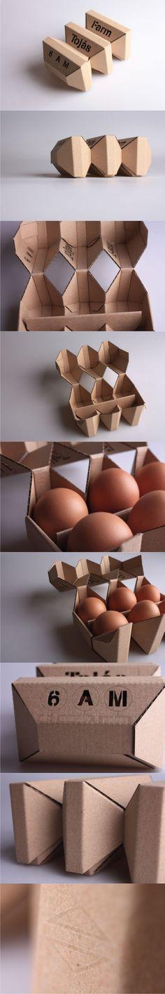 Creative food packaging + egg box by Ádám Török Packaging Carton, Egg Packaging, Clever Packaging, Innovative Packaging, Cardboard Packaging, Food Packaging Design, Brand Packaging, Design Origami, Branding