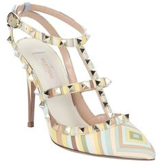 Valentino Pastel Blue And Green Striped Leather 'rockstud' T-Strap... ($955) ❤ liked on Polyvore featuring shoes, pumps, multi-color pumps, blue leather pumps, pointy toe pumps, green pumps and high heel pumps