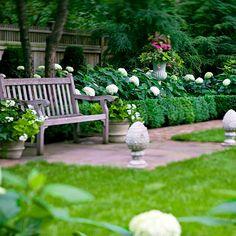 front gardens, boxwood garden, formal gardens, hydrangea