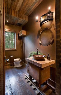 Lodge House-Furniture Delivery & Installation for Belle Grey Design LLC - traditional - bathroom - seattle - Ryan Whitworth - The Big Guys Home Delivery Inc.love the train track Rustic Bathroom Designs, Rustic Bathroom Vanities, Rustic Bathrooms, Bathroom Ideas, Bathroom Sinks, Small Bathroom, Modern Bathroom, Minimalist Bathroom, Bathroom Cabinets