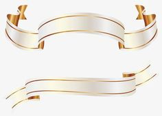 White and Gold Banners PNG Clipart Picture