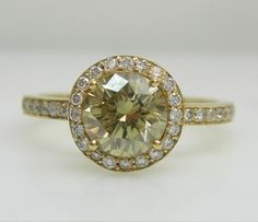 18k yellow gold custom made ring by Audrius Krulis with 1 round brilliant cut diamond, approx. 0.97cts (colour: fancy brownish yellow & clarity: SI2)