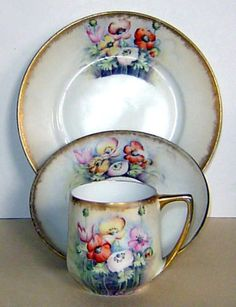 ANTIQUE ROSENTHAL CUP SAUCER PLATE TRIO ART DECO HAND PAINTED POPPIES GERMANY