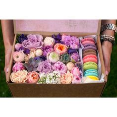 макароны в коробочке Flower Boxes, Flower Ideas, Macaron Boxes, Coming Up Roses, Flower Ball, Macaroons, Floral Design, December, Decorative Boxes
