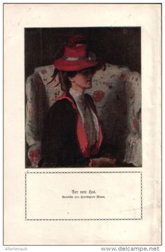 Der rote Hut - Druck, entnommen aus Velhagen und Klasings- Monatsheften