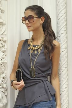 create a natural waist with a wrap shirt & The jewlery add a little pop. Great, unpredictable color too.