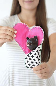 DIY Cotton Canvas Heart Sunglasses Case