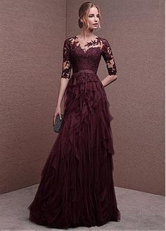 Buy discount Gorgeous Tulle Jewel Neckline Half Length Sleeves A-line Evening Dresses with Lace Appliques & Sash at Dressilyme.com